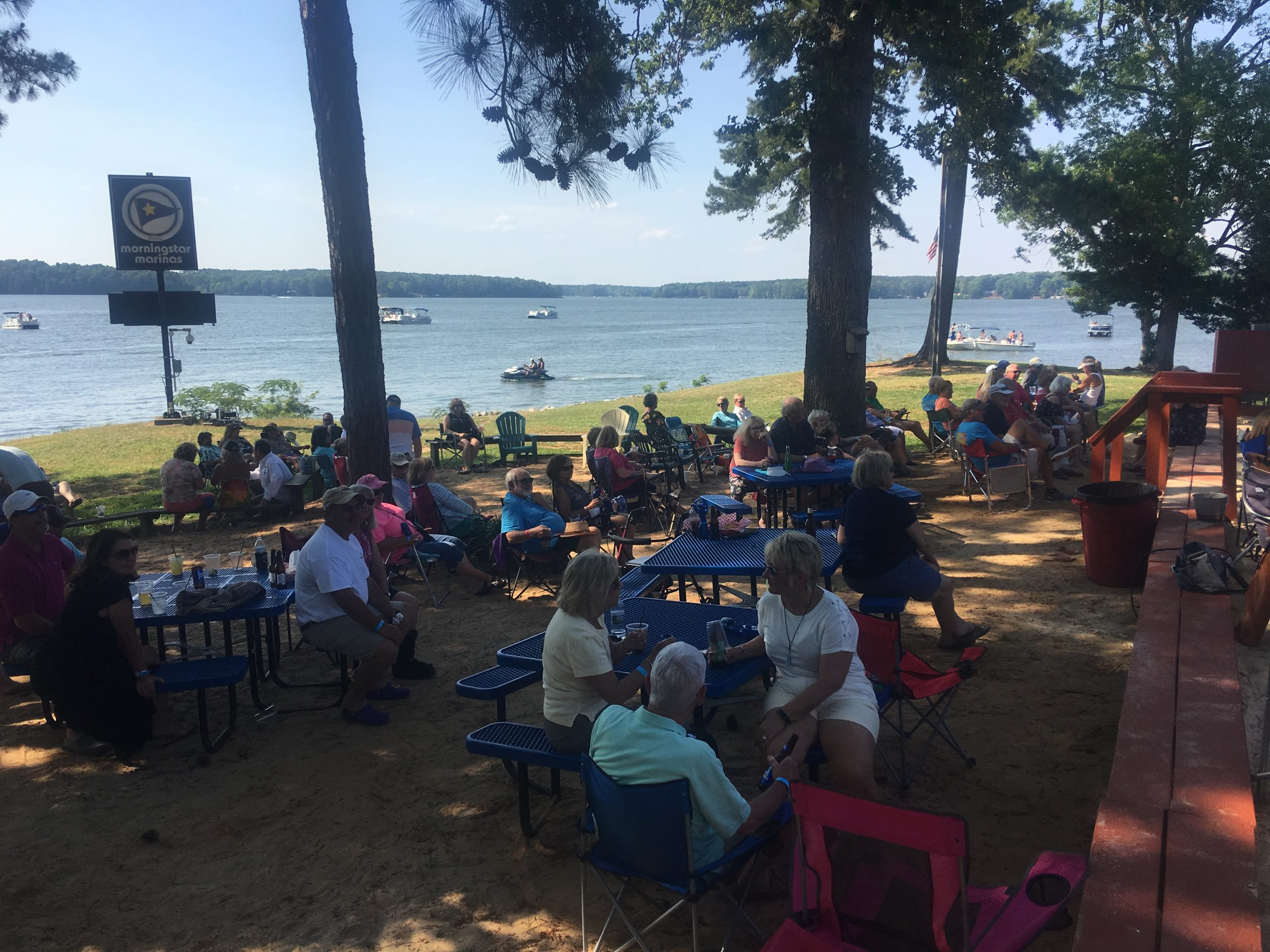 outdoor event at Eaton Ferry Marina on lake Gaston