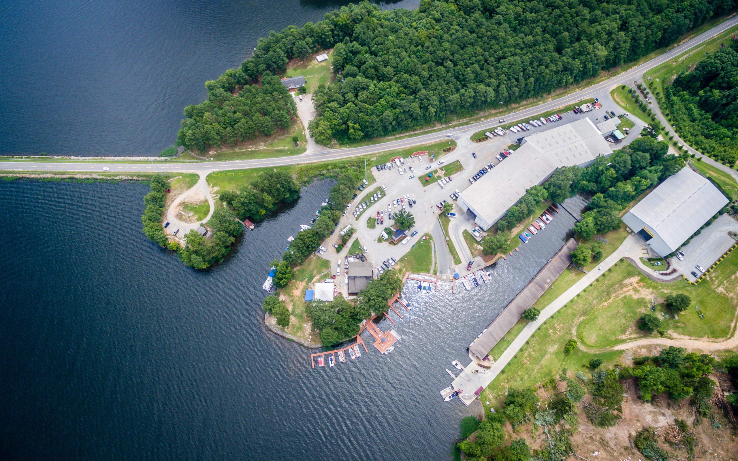 overhead view of Eaton Ferry Marina on lake Gaston