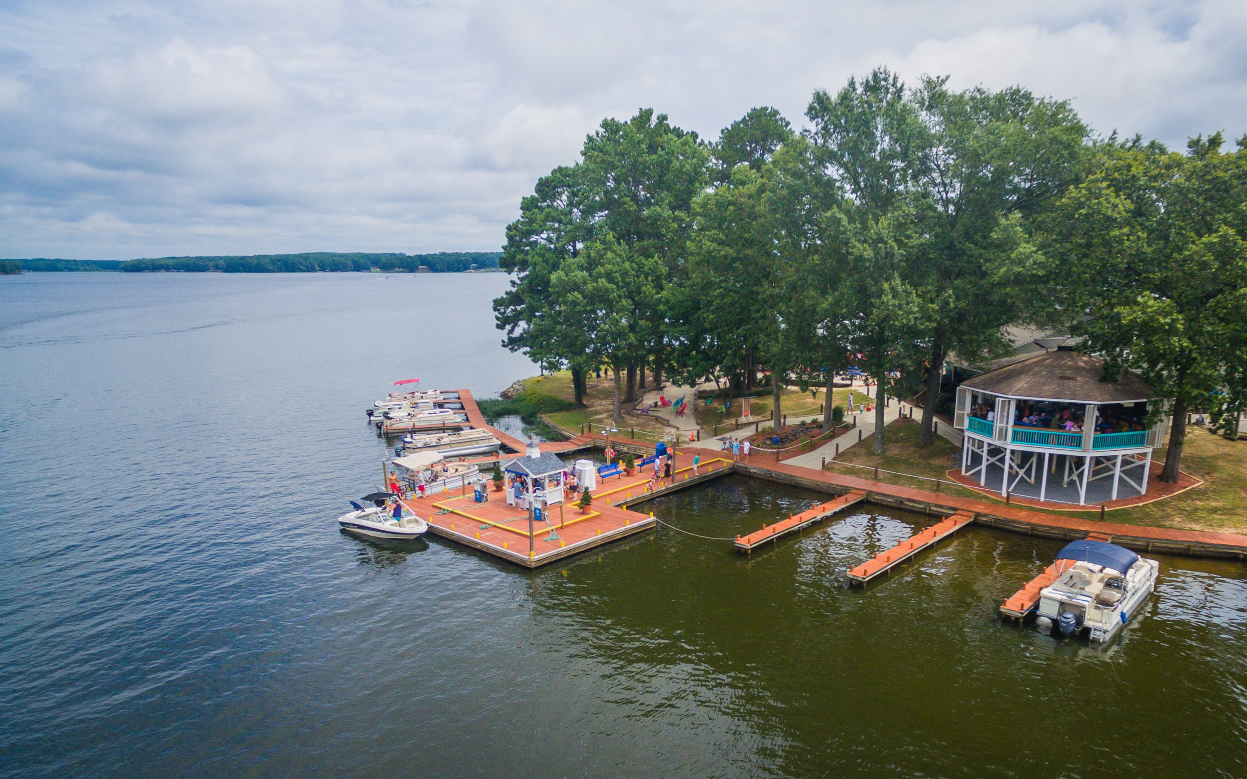 Eaton Ferry Marina boat docks on lake Gaston