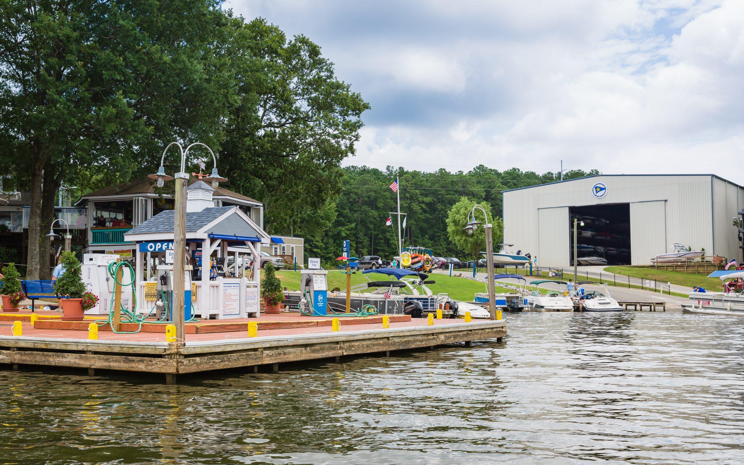 lake gas pump and docked boats at Eaton Ferry marina