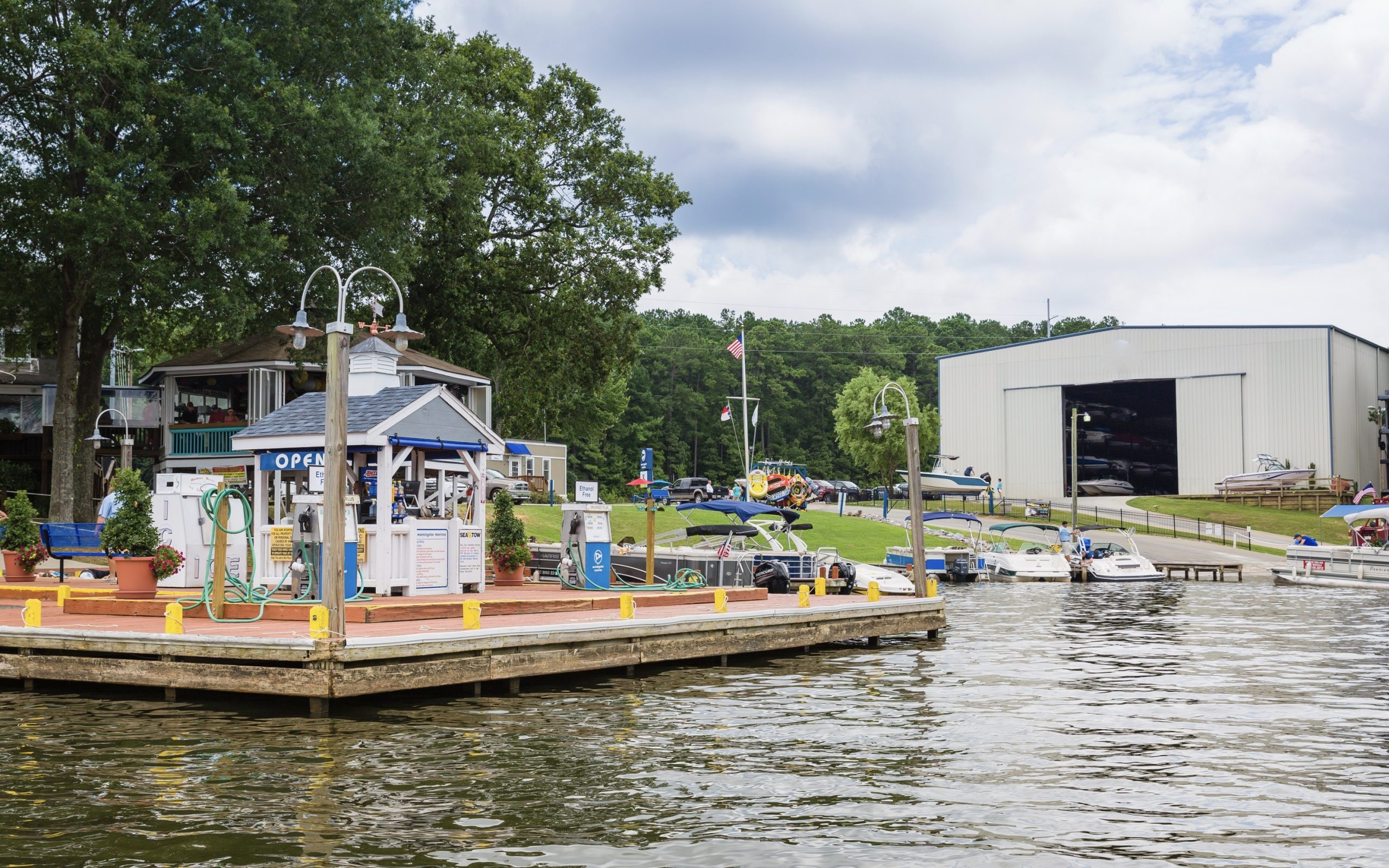 Eaton Ferry Marina fuel dock and boat docks at Lake Gaston