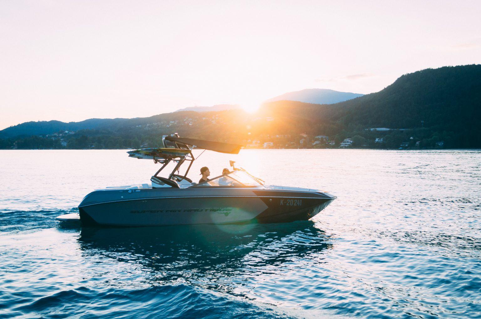 water ski boat on lake Gaston