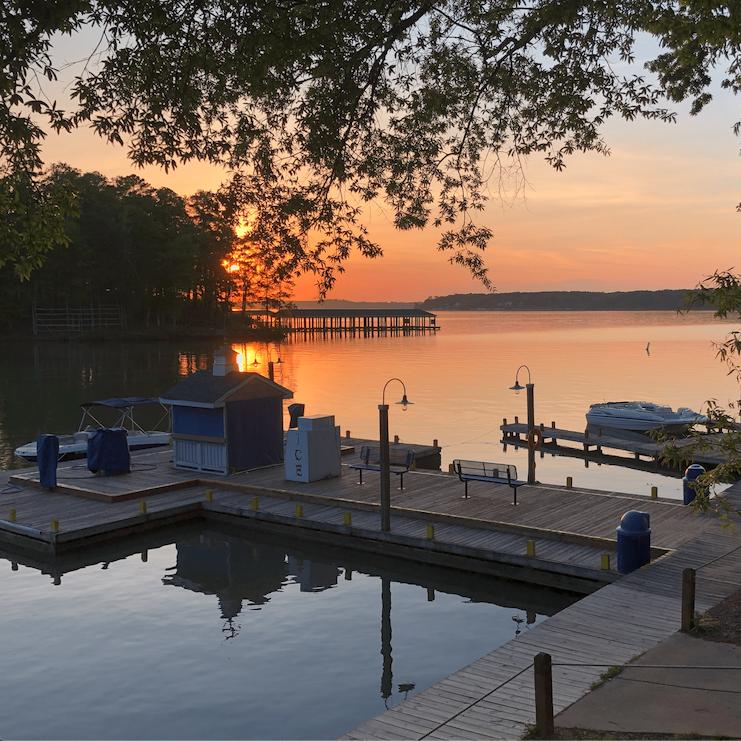 Lake Gaston sunset at Eaton Ferry Marina