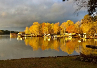 fall foliage on Lake Gaston from Eaton Ferry Marina